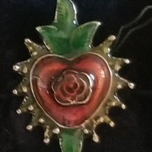 !SALE! #9 = Red Heart with Green Leaves Ring